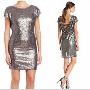 💖Plunge- Back Sequin Cocktail Dress; Vera Wang